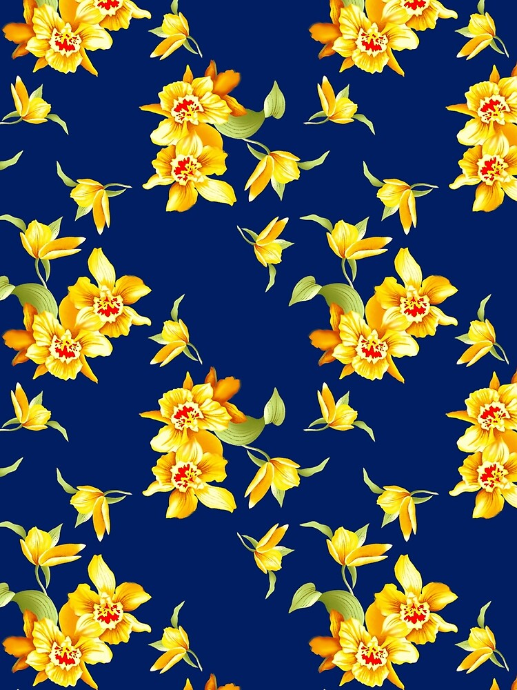 Yellow Daffodils on Blue by GraphicAllusion