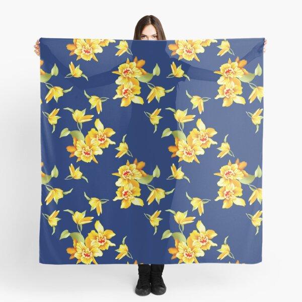 Yellow Daffodils on Blue Scarf
