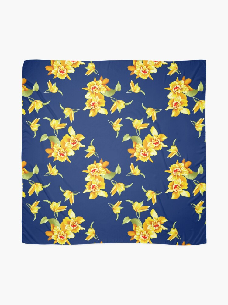 Alternate view of Yellow Daffodils on Blue Scarf