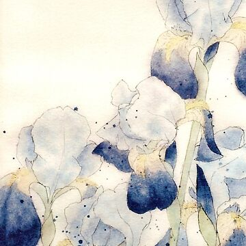 Graceful Iris - Flowing Watercolor by ArtByDrax
