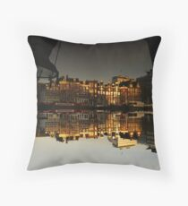 Reflections of Amsterdam - House Boats Throw Pillow