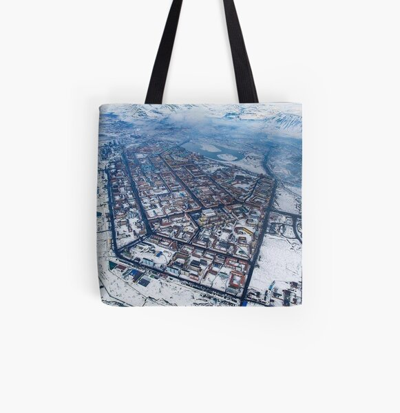 Norilsk,  Aerial Photography All Over Print Tote Bag