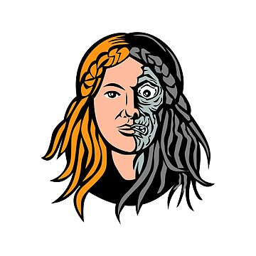 Hel Norse Goddess of Death Head Retro by patrimonio