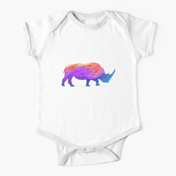 Save The Chubby Unicorn Rainbow Design Short Sleeve Baby One-Piece