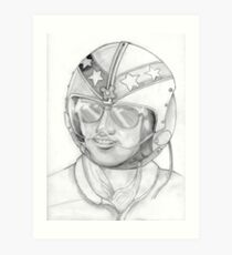 Top Gun 1980s, Pilot in pencil Art Print
