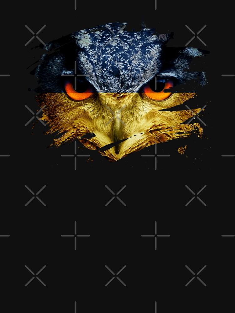 Ukraine Flag and Menacing Owl by ockshirts
