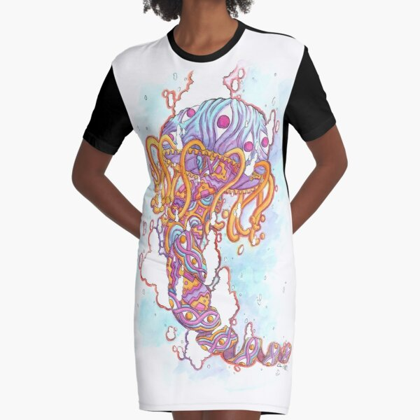 Cosmic Jellyfish - Psychedelic Watercolor Painting Graphic T-Shirt Dress
