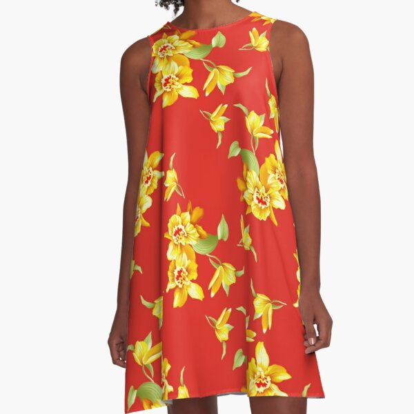 Golden Daffodils on Red A-Line Dress