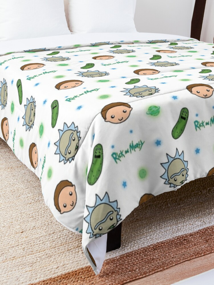 Alternate view of Rick and Morty space adventure Comforter