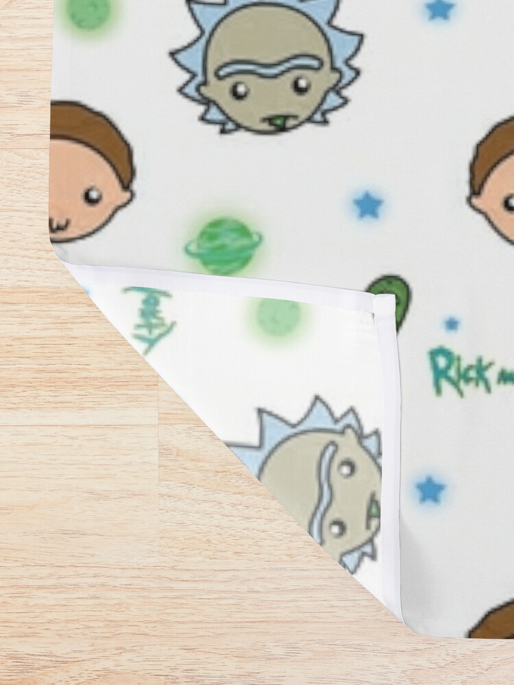 Alternate view of Rick and Morty space adventure Shower Curtain
