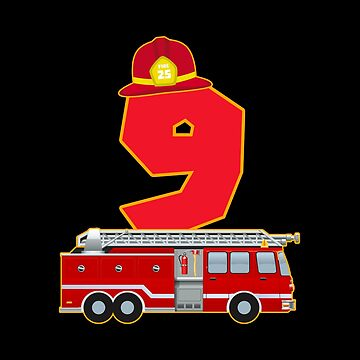 9th Birthday Fireman Firefighter Fire Truck Gift by NiceTeee