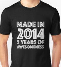 5th Birthday Gift Boy Girl Kids Age 5 Year Old Slim Fit T Shirt