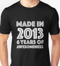 6th Birthday Gift Kids Age 6 Year Old Boy Girl Slim Fit T Shirt