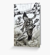 Snow Shoveling  Greeting Card