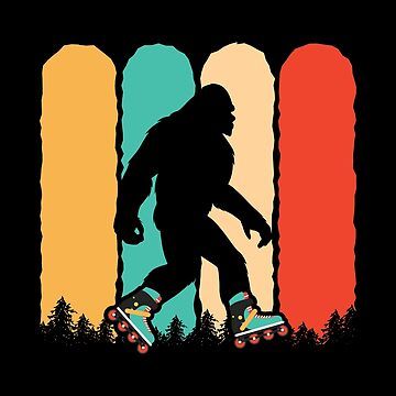 Retro Bigfoot Sasquatch Funny Rollerskating Apparel by CustUmmMerch