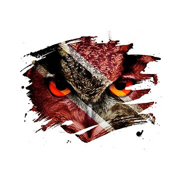 Trinidad and Tobago Flag and Menacing Owl by ockshirts