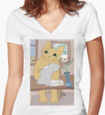 IS THAT CAT A WRITER? Women's Fitted V-Neck T-Shirt