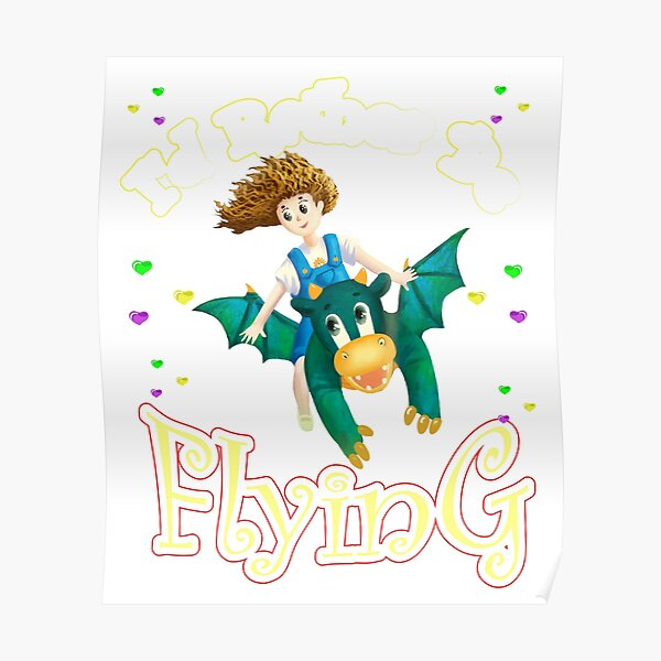 Copy of Girl Flying Magical Dinosaur Poster