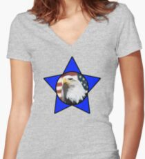 Bald Eagle & Blue Star Women's Fitted V-Neck T-Shirt