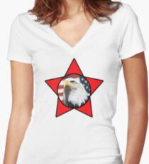Bald Eagle & Red Star T-Shirt Women's Fitted V-Neck T-Shirt