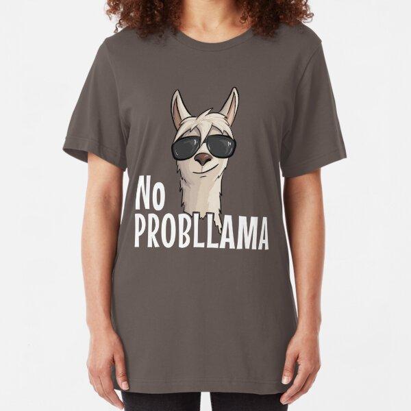 No ProbLama Hipster Lama mit New Age Sonnenbrille Geschenk Slim Fit T-Shirt