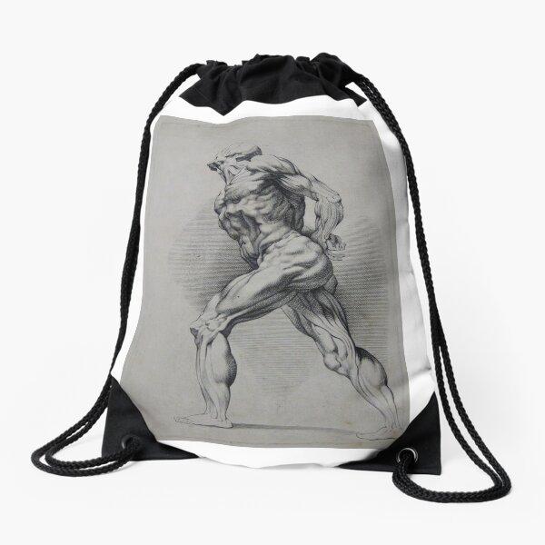 #art #adult illustration people #renaissance marble painting naked #HumanBody Drawstring Bag