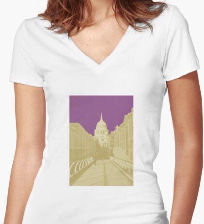 London Fruit Pop Series - Plum Saint Fitted V-Neck T-Shirt