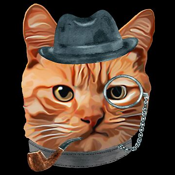 Cat Kitty Kitten In Clothes Pipe Monacle Gangster Hat by Vroomie
