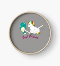 Cute Narwhal And Unicorn Art - Best Friends Forever Clock