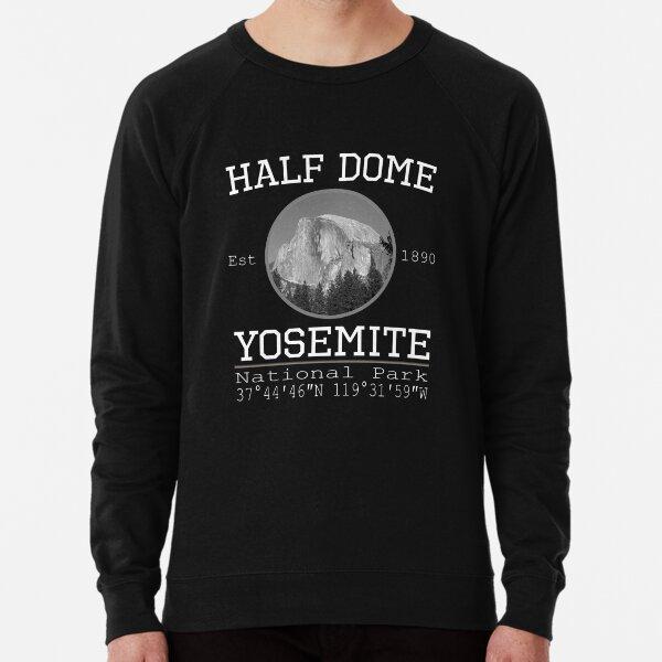 Half Dome Yosemite National Park Retro Vintage Design with GPS Location Lightweight Sweatshirt