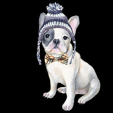 Frenchie French Bulldog Toque Beanie plaid bow tie Dogs In Clothes by Vroomie
