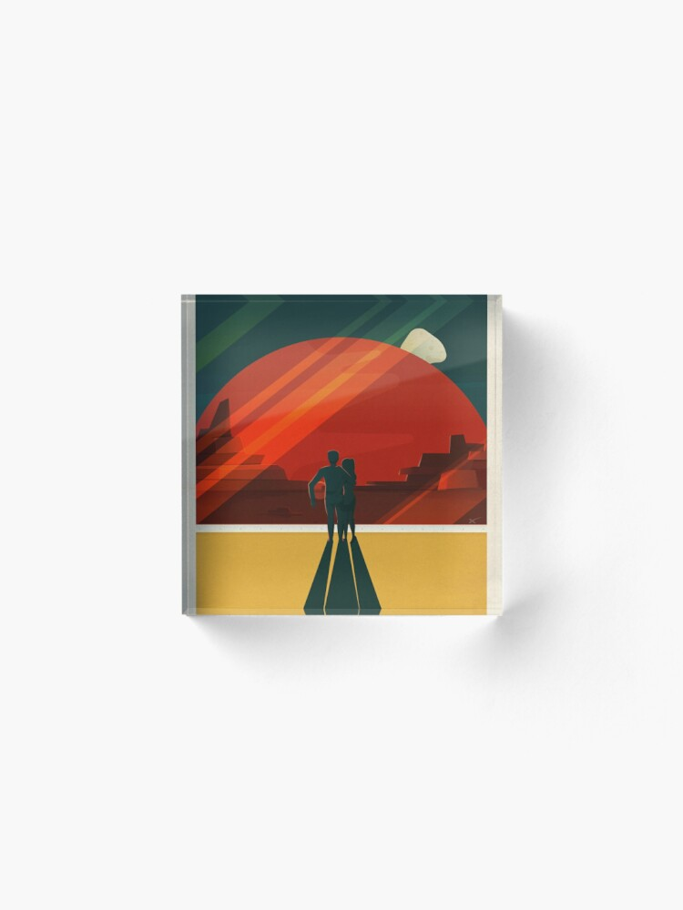 Alternate view of SpaceX Travel Poster: Phobos and Deimos, Moons of Mars Acrylic Block