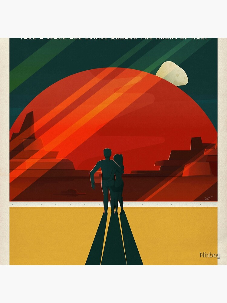 SpaceX Travel Poster: Phobos and Deimos, Moons of Mars by Ninboy