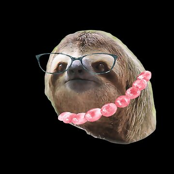 Sloth Black Glasses beads Sloths In Clothes by Vroomie