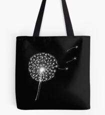Dandelion clock on black Tote Bag