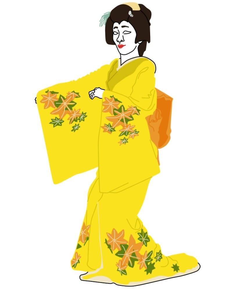 Leaves Changing Colour Kimono Motif by KHRArts