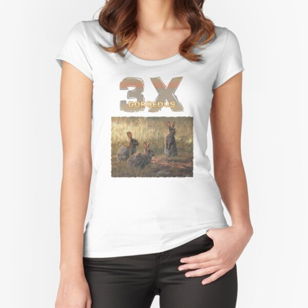 Cute Young Rabbits - 3x GORGEOUS Fitted Scoop T-Shirt