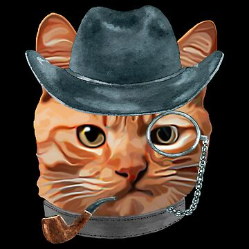 Cat Kitty Kitten In Clothes Pipe Monacle Cowboy Hat by Vroomie