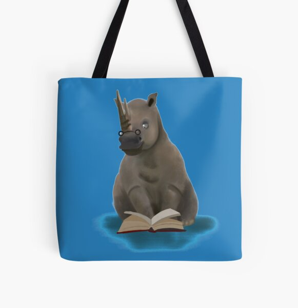 Reading rhino  All Over Print Tote Bag