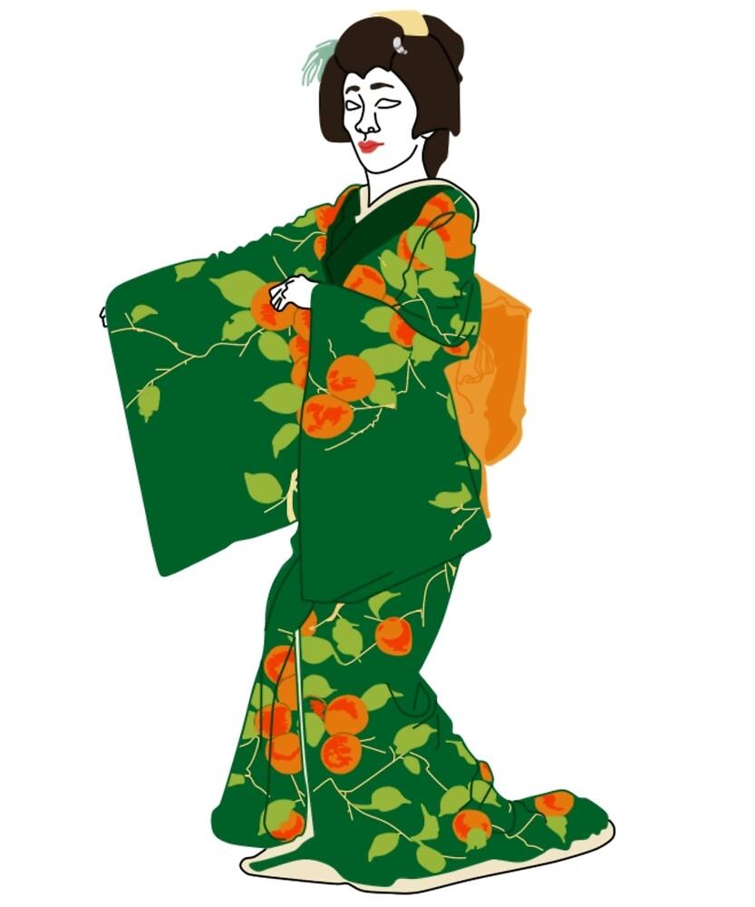 Japanese Persimmon Kimono Motif by KHRArts