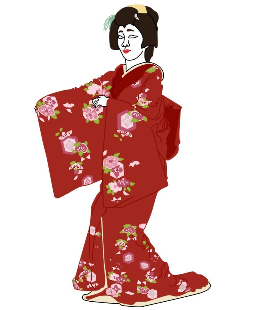 Sasanqua Carnellia Kimono Motif by KHRArts