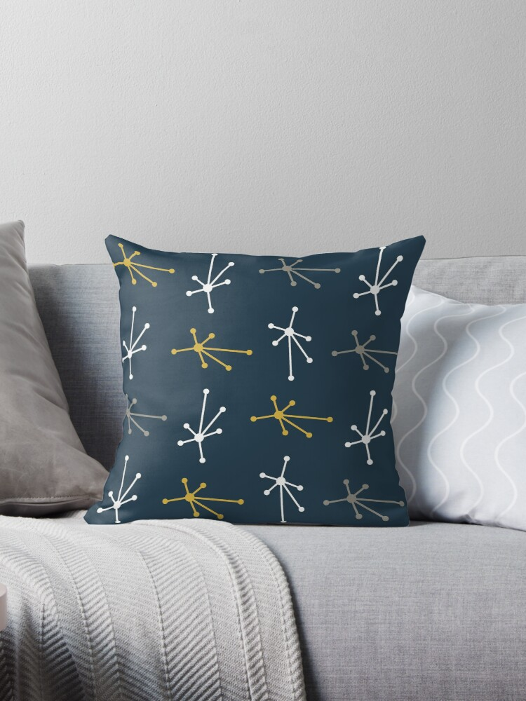 Fine Retro Atomic Bursts Mid Century Modern Design In Navy Blue White Light Mustard Yellow And Grey Throw Pillow By Kierkegaard Pabps2019 Chair Design Images Pabps2019Com