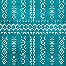 Teal Blue Tribal Stripes Pattern by blueskywhimsy