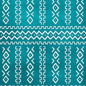 Patrón de rayas tribales azul verde azulado de blueskywhimsy