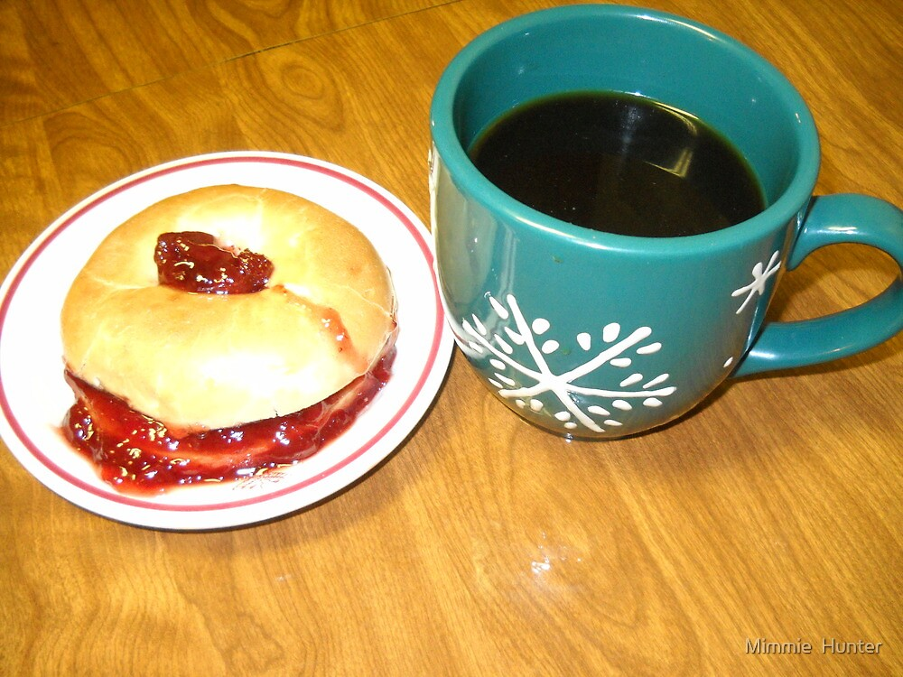 Coffee-N- Bagel With Strawberry Preserve by Mimmie M. Hunter