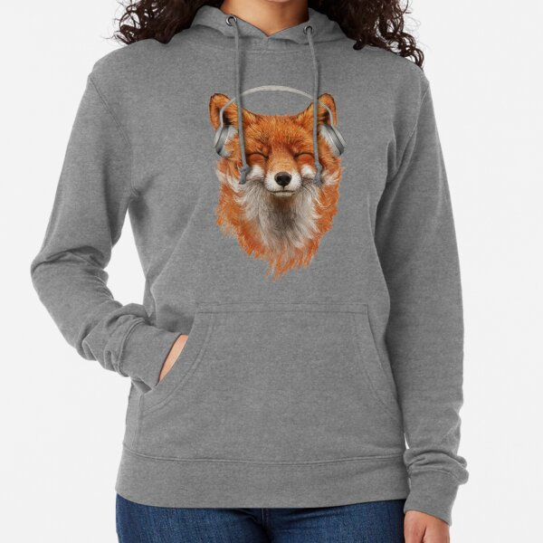 Smiling Musical Fox Lightweight Hoodie