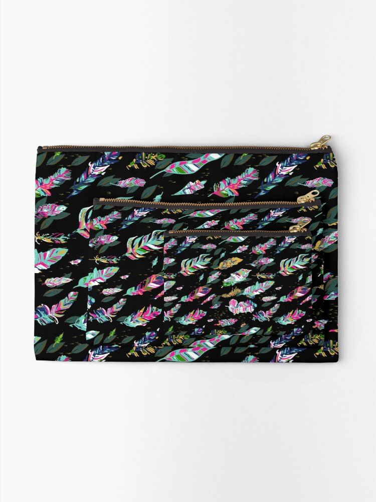 Alternate view of Bold flowing feathers Zipper Pouch