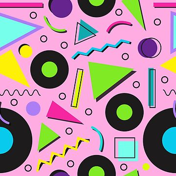 80s Neon Shapes Vinyl Records Memphis Pattern by HotHibiscus