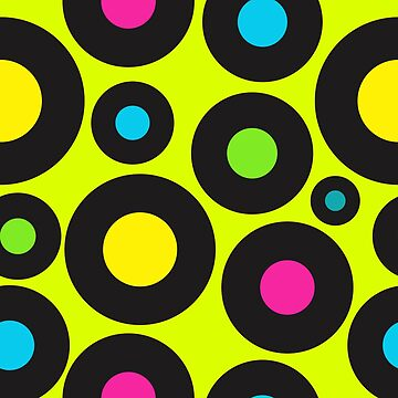 Neon Coloured Vinyl Records Pattern on Lime by HotHibiscus