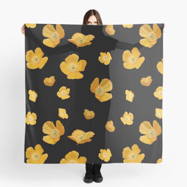 poppin yellow poppies pattern Scarf
